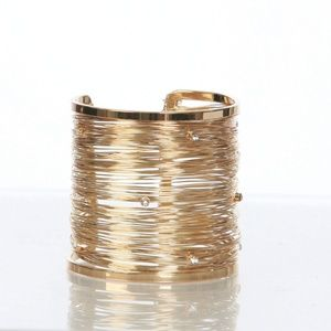 Jewelry - Bangle Cuff Bracelet Gold Wrap Wire & Rhinestones